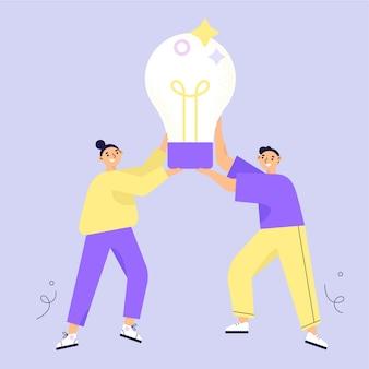 アイデアコンセプト。ブレーンストーミング。 2つのキャラクターの女性と大きな電球を保持している男。フラットのベクトル図。