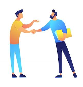 2人のビジネスマンが手を振ってベクトルイラスト。