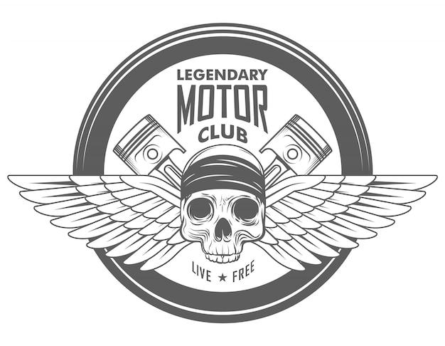 オートバイのガレージベクトルバイカーエンブレム、ラベルまたはロゴとヘルメットの頭蓋骨と2つの交差ピストンのモノクロスタイル