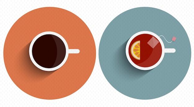 2つのアイコン様式化されたカップティーとコーヒー、長い影