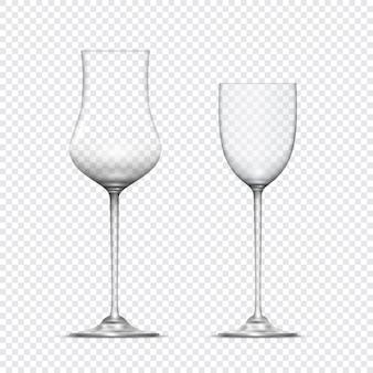 2つの透明なリアルな空のグラスゴブレット