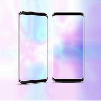 透明なスクリーンを持つ2つの高詳細な現実的なスマートフォン