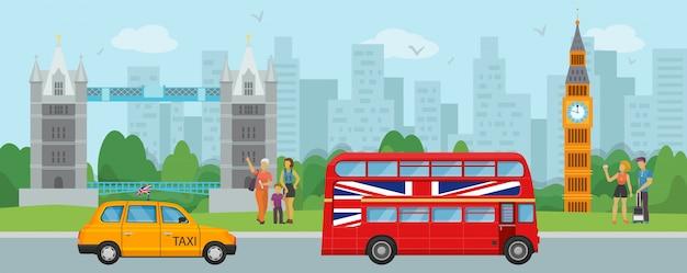 ロンドンイギリス観光旅行と人々観光客のイラスト。ロンドンのタワーブリッジ、ビッグベン、2階建ての赤いバス、タクシーのランドマークとシンボル。