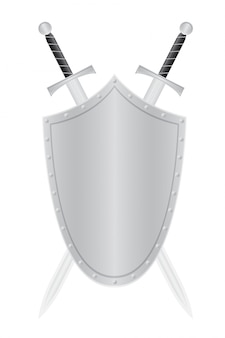 空白の盾と2本の刀ベクトルイラスト