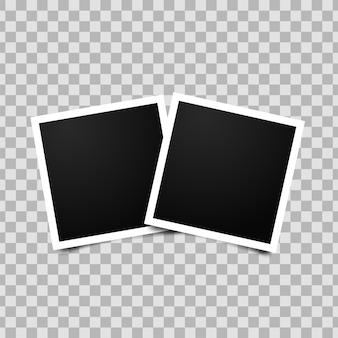 2つの空のフォトフレームのコラージュ。透明な背景に分離された写実的なモックアップ。レトロな空のフォトフレームテンプレート。