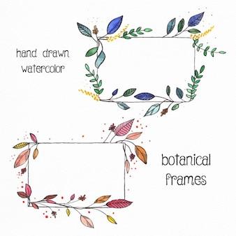 水彩画と2手描きの花のフレーム