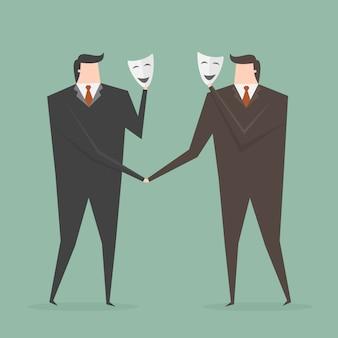 マスクを持つ2つのビジネスマン