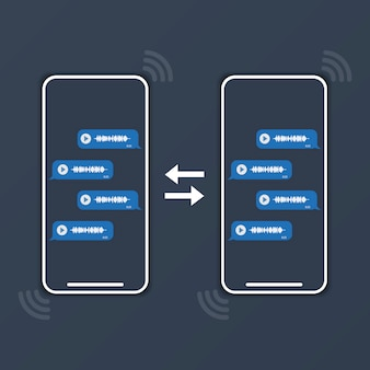 2台の電話がボイスメッセージを交換しています