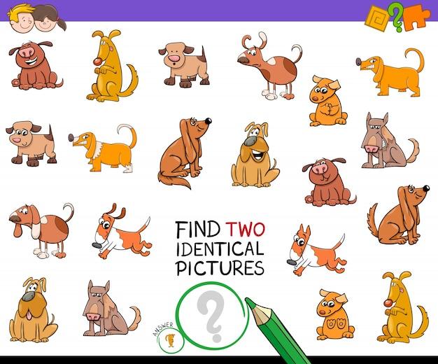 犬と2つの同一の絵を見つける