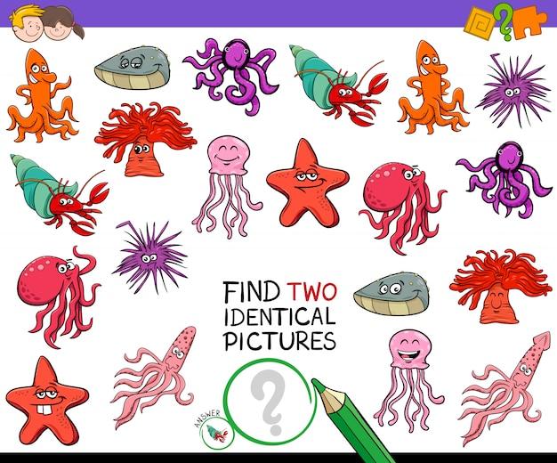 子供のための2つの同一の動物のゲームを見つける