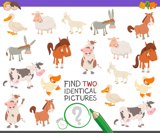 農場の動物と2つの同一の写真ゲームを探す