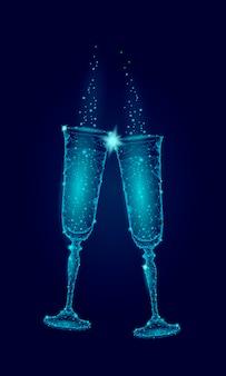 2つの青い光るグラスシャンパンの輝き、幸せな新年のバレンタインの日の挨拶
