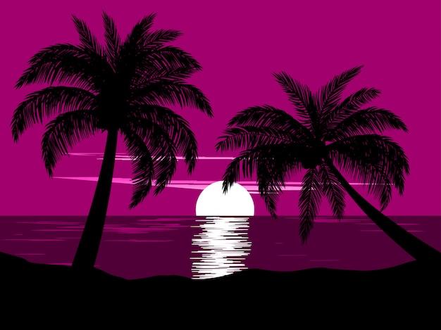 2本のヤシの木とビーチの夕日