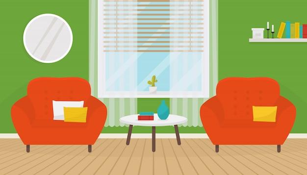 2つの柔らかいアームチェアとコーヒーテーブルと緑のリビングルームのインテリア。