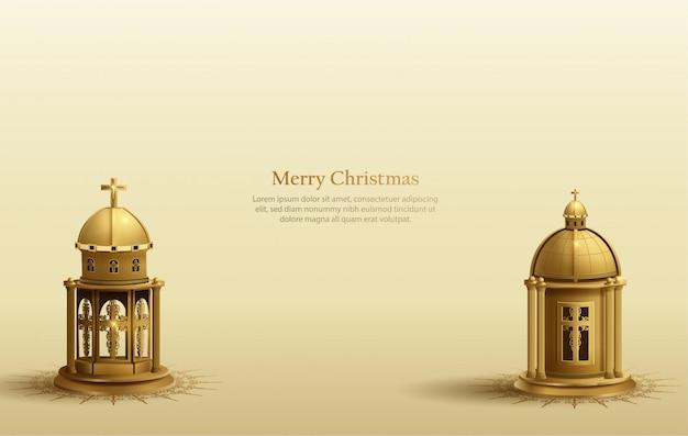 2つの黄金の教会のランタンとクリスマスカードの背景