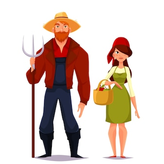 2人の若い男と女の農家