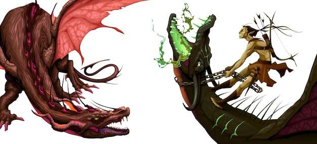 2つの孤独な竜ベクトルのファンタジーイラスト