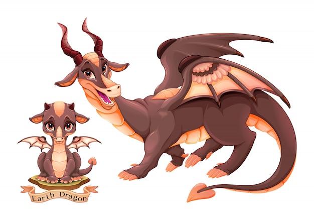 2つのバリエーション、子犬と大人の地球の要素のドラゴン