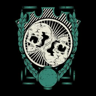フレーム手描きで2つの頭蓋骨