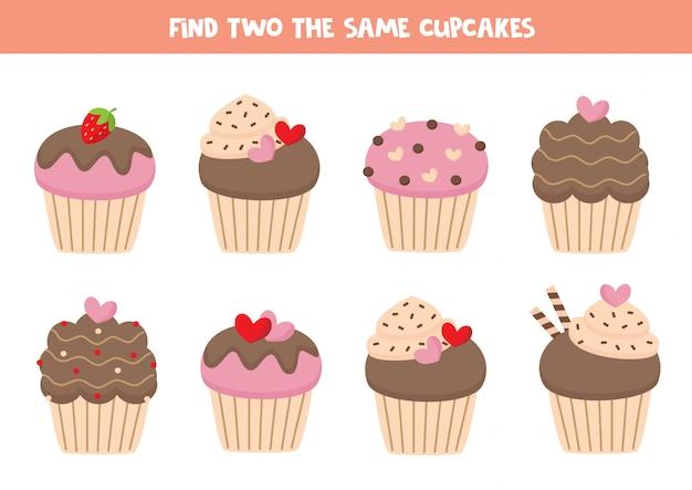 2つの同じカップケーキ、子供向けゲームを見つけます。