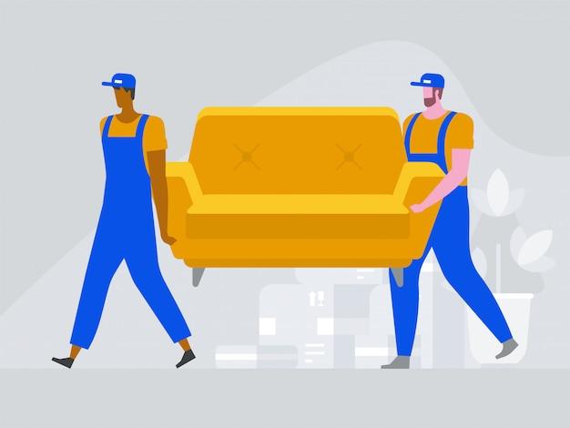 2人の労働者がソファを運んでいます。