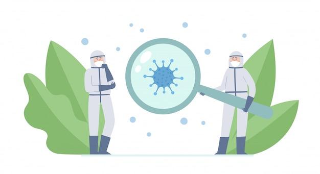 2人の医師-科学者と白で隔離されるコロナウイルスのイラスト。コロナウイルス、拡大鏡、装飾植物の予防マスクで医療従事者を考える