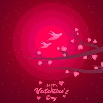 ピンクの太陽バレンタインデーの背景の2つのかわいい鳥の前