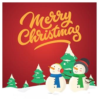 クリスマスのグリーティングカード、2人の親友