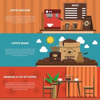 コーヒーバー2平らな水平方向のバナー