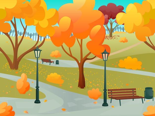Осенний парк 2д игровой пейзаж