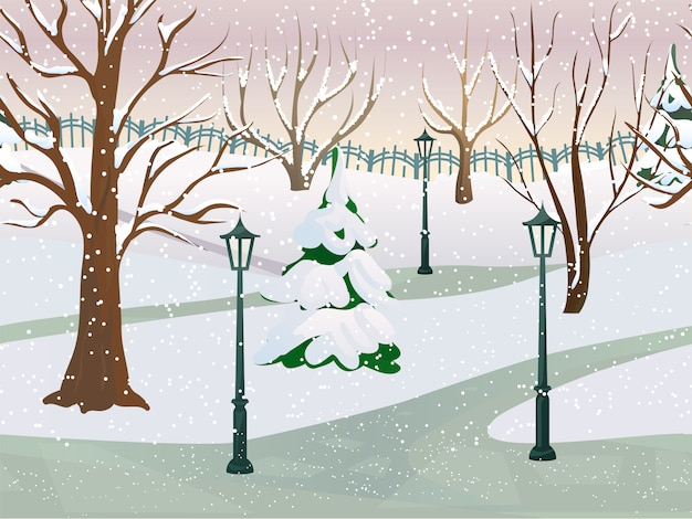 Зимний парк 2д игровой пейзаж