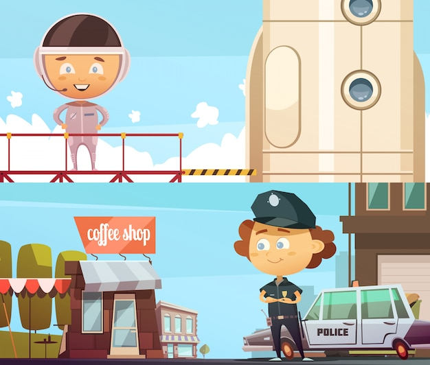 警官と宇宙飛行士のスーツでかわいい漫画の子供たちと人々の職業2つの水平方向のバナー
