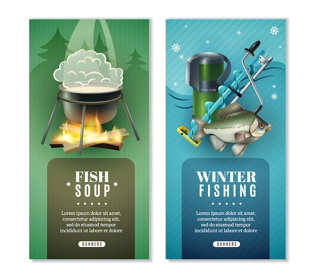 Зимняя рыбалка 2 вертикальных баннера