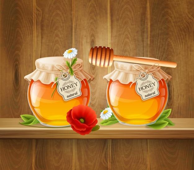 蜂蜜構成の2つの瓶
