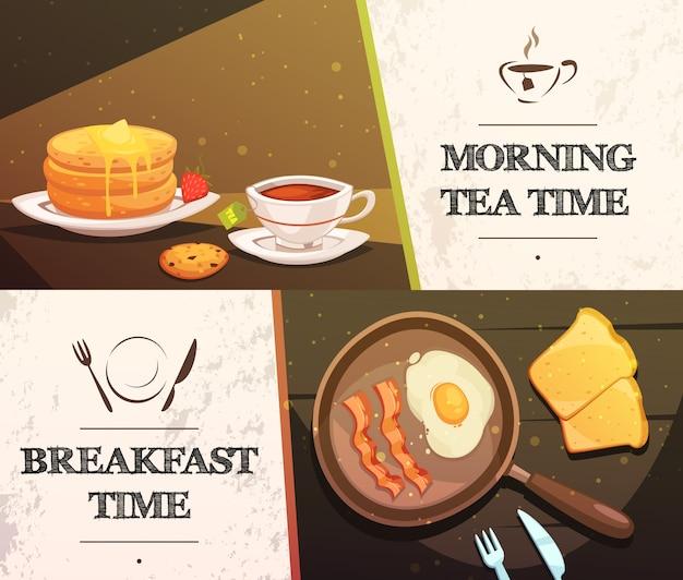 朝食時間と朝のお茶2つの平らな水平方向のバナー