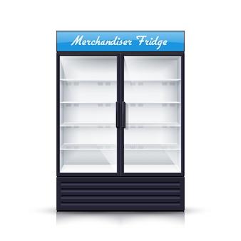 2つのパネルの空の冷蔵庫のリアルなイラスト