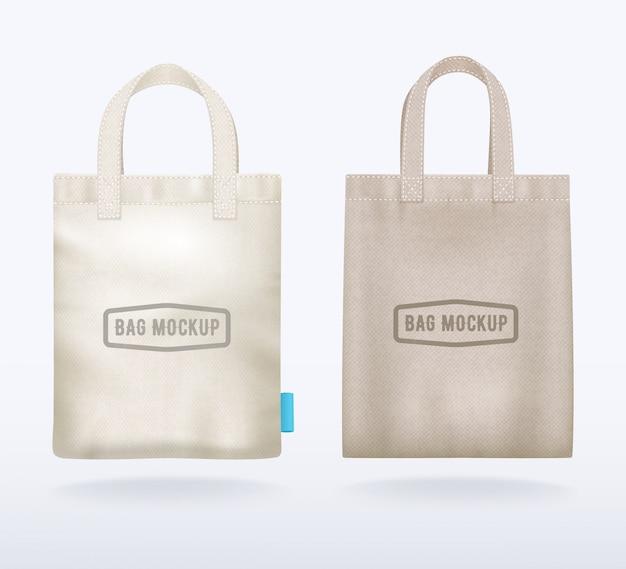 2つのモダンな天然キャンバスモックアップショッピングバッグ現実的なテンプレート