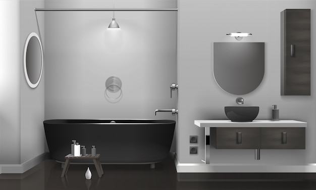 2つのミラー付きのリアルなバスルームのインテリア