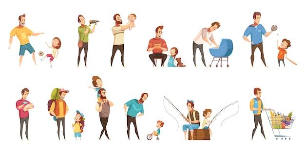 Отцовство, воспитание детей, покупки, ходьба, рыбалка с детьми, ретро мультфильм иконки 2 баннеры набор изолированных векторная иллюстрация