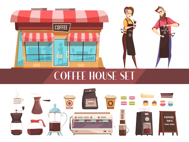 コーヒーハウス2つの水平方向のバナー