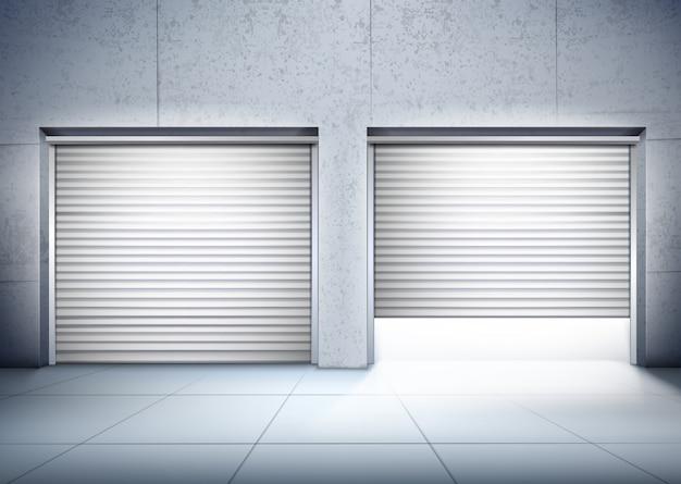 2つの入り口の構成を持つガレージ