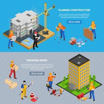 建物の画像編集可能なテキストと読み取りボタンを2つの水平方向のバナーの建設等尺性セット