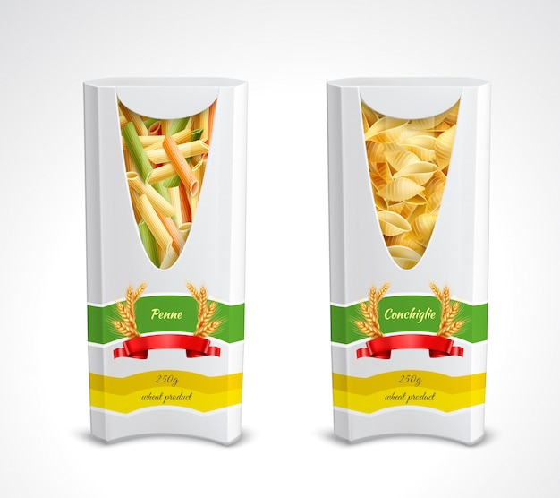 パスタパッケージ現実的なアイコンは、ペンネとコンキリエのイラストで2つの色のパックを設定