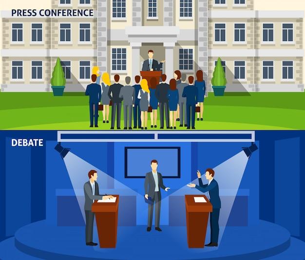 政治2つのフラットバナーセット