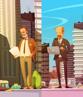 電子および紙の文書を読む2人のビジネスマン