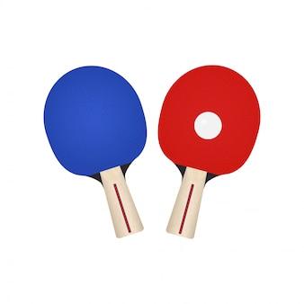 卓球用の2つのラケット。