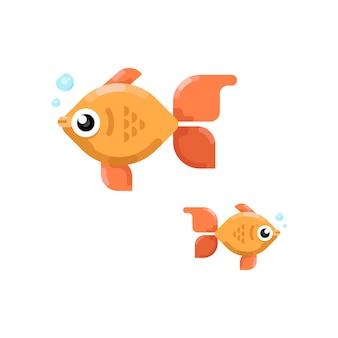 2つのかわいい小さな魚のフラット