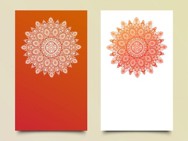 テンプレート用の2色のベクトル曼荼羅パターン