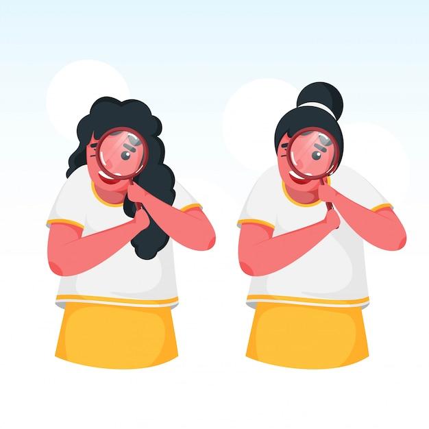 白い背景の上の虫眼鏡から検索する2人のかわいい女の子。