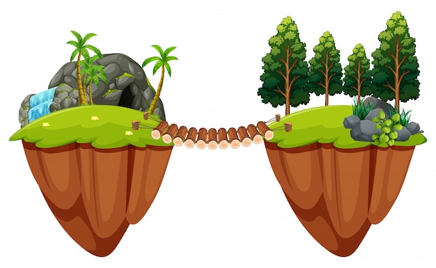 木々の橋が2つの島に接する